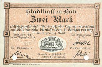 Billets Mulhouse (68). Ville. Billet 2 mark 10.9.1914. Annulé par double perforation