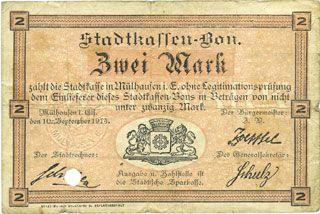 Billets Mulhouse (68). Ville. Billet 2 mark 10.9.1914. Annulé par perforation