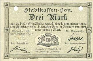 Billets Mulhouse (68). Ville. Billet 3 mark 10.9.1914. Annulé par double perforation