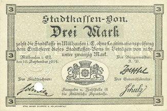 Billets Mulhouse (68). Ville. Billet 3 mark 10.9.1914. Annulé par perforation