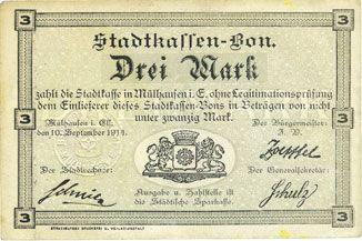 Billets Mulhouse (68). Ville. Billet 3 mark 10.9.1914. Non annulé