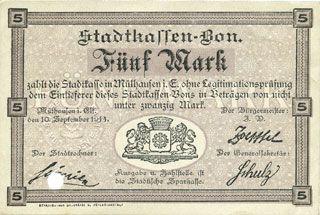 Billets Mulhouse (68). Ville. Billet 5 mark 10.9.1914. Annulé par perforation
