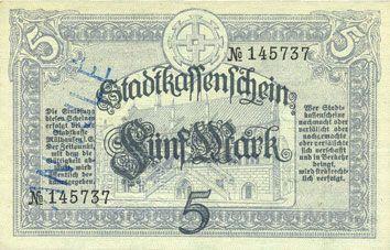 Billets Mulhouse (68). Ville. Billet 5 mark 15.10.1918. Annulation au revers par cachet « ANNULÉ »