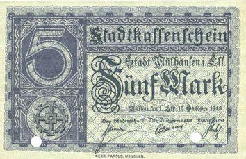 Billets Mulhouse (68). Ville. Billet 5 mark 15.10.1918. Annulé par double perforation