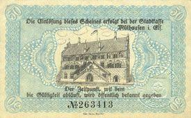 Billets Mulhouse (68). Ville. Billet 50 pfennig 1.5.1918. Non annulé
