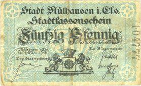 Billets Mulhouse (68). Ville. Billet 50 pfennig 1.5.1918. Type avec double numérotation. Non annulé