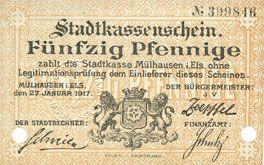 Billets Mulhouse (68). Ville. Billet 50 pfennig 27.01.1917. Annulé par double perforation