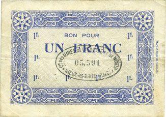 Billets Noeux-les-Mines (62). Cie des Mines de Vicoigne et de Noeux-les-Mines. Billet. 1 franc