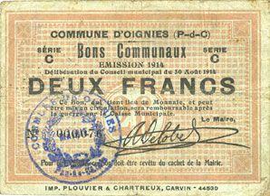 Billets Oignies (62). Commune. Billet. 2 francs 30.8.1914, série C