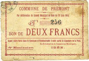 Billets Prémont (02). Commune. Billet. 2 francs 29.6.1915