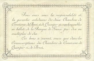 Billets Quimper & Brest (29). Chambres de Commerce. Billets. 2 francs 1915, série A