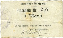 Billets Ranspach (68). Billet. 1 mark. Cachet communal allemand