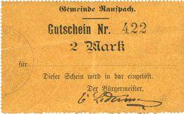 Billets Ranspach (68). Billet. 2 mark. Cachet communal allemand