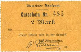 Billets Ranspach (68). Billet. 2 mark. Cachet communal allemand