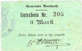 Billets Ranspach (68). Billet. 3 mark. Cachet communal allemand