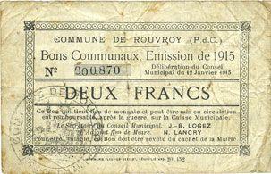 Billets Rouvroy (62). Commune. Billet. 2 francs 12.1.1915