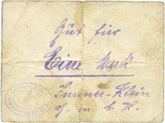 Billets Sondernach. Immer-Klein GmbH. Billet. 1 mark (30.9.1914). Numérotation de 4,5 mm