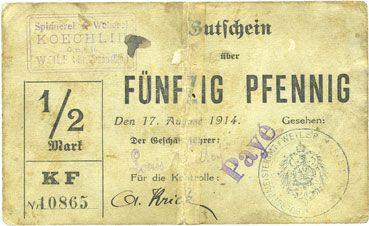 Billets Willer-sur-Thur. Spinnerei & Weberei Koechlin GmbH. Billet. 50 pfennig 17.8.1914. Annulé