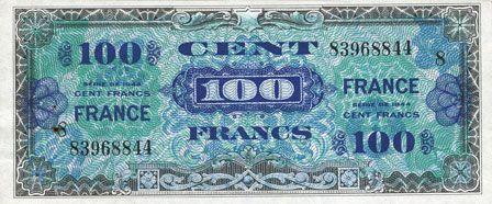 Billets Billet. 100 francs, France, type américain, 1945, série 8