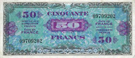 Billets Billet. 50 francs. Drapeau, type américain, 1944, sans n° série