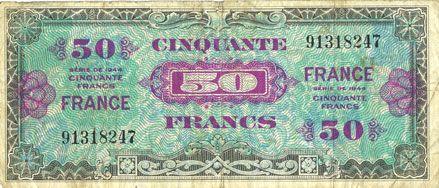 Billets Billet. 50 francs, France, type américain, 1945, sans n° série