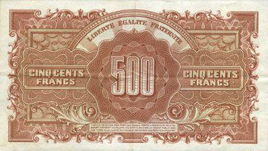 Billets Billet. 500 francs Marianne, impression anglaise - 1945