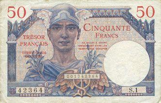 Billets Territoires occupés. Billet. 50 francs, Trésor français, type 1947