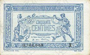 Billets Trésorerie aux Armées. Billet. 50 cmes, 1919, série W