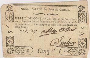 Billets Pont-du-Château. Billet de confiance de 5 sous n. d., 3 signatures