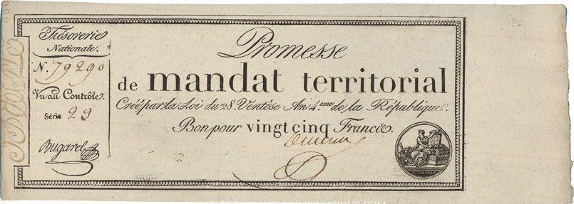 Billets Promesse de mandat territorial. 25 francs. 28 ventôse an 4. A