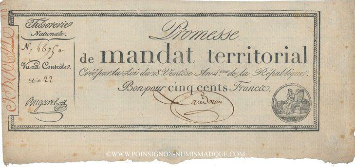 Billets Promesse de mandat territorial. 500 francs. 28 ventôse an 4. Avec le mot série
