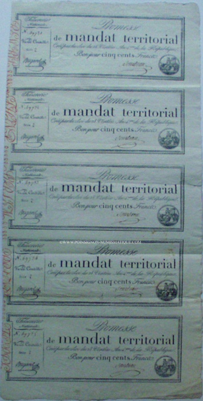 Billets Promesse de mandat territorial,  500 francs, feuille complète de 5 ex, 28 ventôse an 4,  mot série