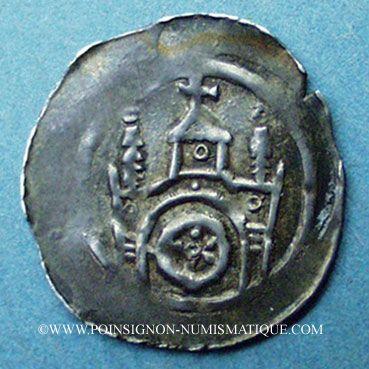 Coins Alsace. Evêché de Strasbourg. Epoque des Hohenstaufen (1138-1284). Denier. Molsheim vers 1190-1220