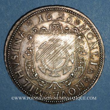 Coins Alsace. Mulhouse. Taler à l'écu 1623, tranche laurée. Refrappe du début du 18e siècle