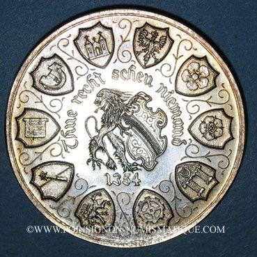 Coins Alsace. Strasbourg. 12e anniversaire de la création de l'U.N.A. 1984. Médaille argent. 42,2 mm
