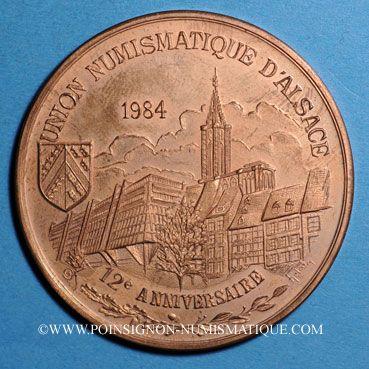Coins Alsace. Strasbourg. 12e anniversaire de la création de l'U.N.A. 1984. Médaille cuivre. 42,2 mm