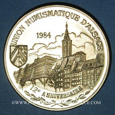 Coins Alsace. Strasbourg. 12e anniversaire de la création de l'U.N.A. 1984. Médaille laiton doré. 42,2 mm