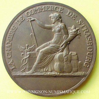 Coins Alsace. Strasbourg. 150e anniversaire de la création de la Chambre de Commerce 1953. Médaille bronze