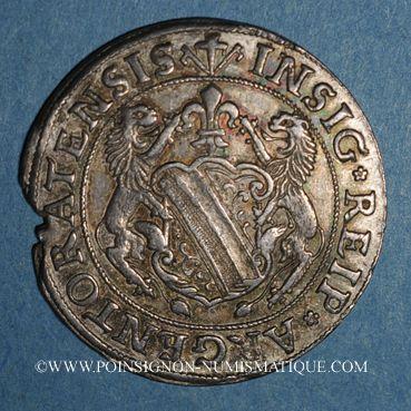 Coins Alsace. Strasbourg (17e siècle). 1/4 taler aux lions