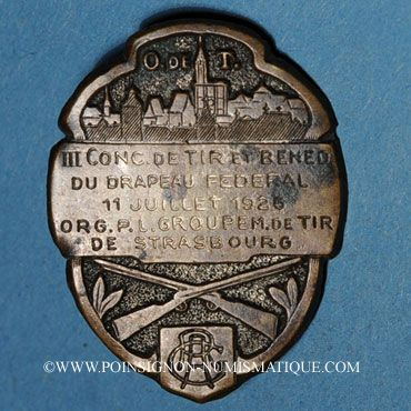 Coins Alsace. Strasbourg. 3e concours de tir. Bénédiction du drapeau de l'O.R.G.P.L. 1926. Insigne laiton