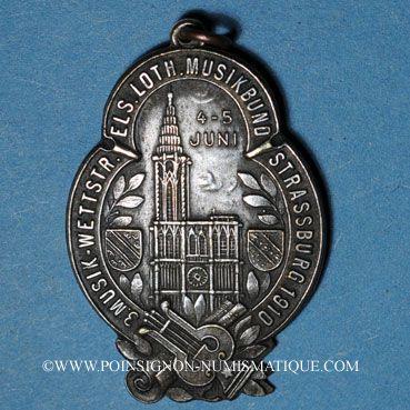 Coins Alsace. Strasbourg. 3e concours musique d'Alsace-Lorraine. 1910. Plaquette bronze argenté