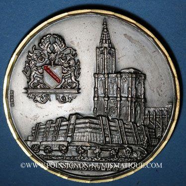 Coins Alsace. Strasbourg. A M. Joseph Bindl (Dingolfing). 1987. Médaille bronze argenté. 60 mm