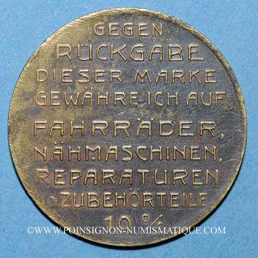 Coins Alsace. Strasbourg. Alb. Kiffel, Fahrradhandl. (marchand de cycles). Jeton laiton. 24,6 mm