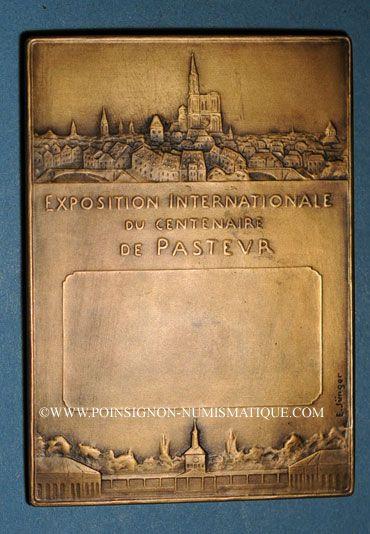 Coins Alsace. Strasbourg. Centenaire de Pasteur - Exposition Internationale. 1923. Plaquette bronze