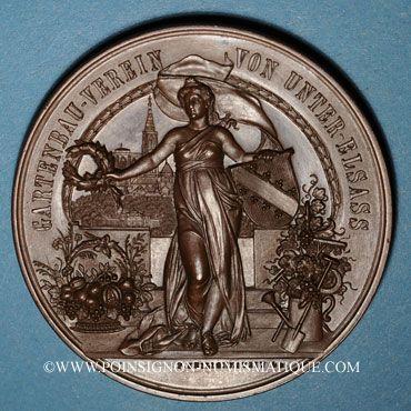 Coins Alsace. Strasbourg. Cercle de jardinage d'Alsace. 1903. Médaille bronze. 50,64 mm