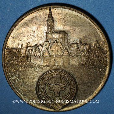 Coins Alsace. Strasbourg. Ecole de garçons-bouchers (vers 1950). Médaille bronze uniface. 50 mm