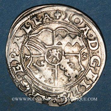 Coins Alsace. Strasbourg. Evêché. Jean de Manderscheid (1569-1592). 3 kreuzers 1573. Molsheim