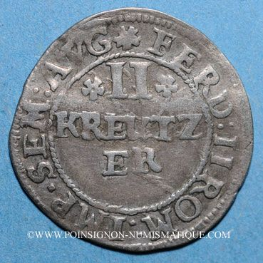 Coins Alsace. Strasbourg. Evêché. Léopold Guillaume (1625-1662). 2 kreuzers. Molsheim