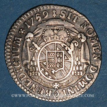 Coins Alsace Strasbourg. Evêché. Louis Constantin de Rohan-Guéménée (1756-79). 1/12 taler 1759. Oberkirch