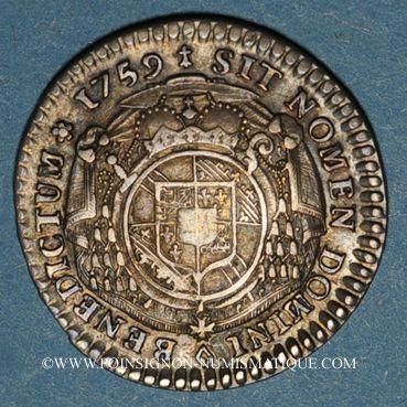 Coins Alsace. Strasbourg. Evêché. Louis Constantin de Rohan-Guéménée (1756-79). 1/6 taler 1759. Oberkirch